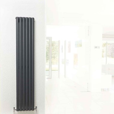 Hudson Reed Revive Double Panel Vertical Designer Radiator - Anthracite - 1800x354
