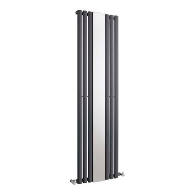 Hudson Reed Revive with Mirror Single Panel Vertical Designer Radiator - Anthracite - 1800x499