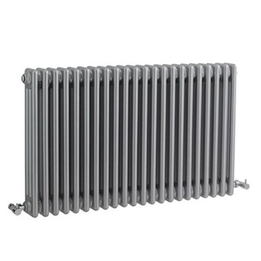 Hudson Reed Colosseum Triple Column Horizontal Designer Radiator - Silver - 600 x 1011mm