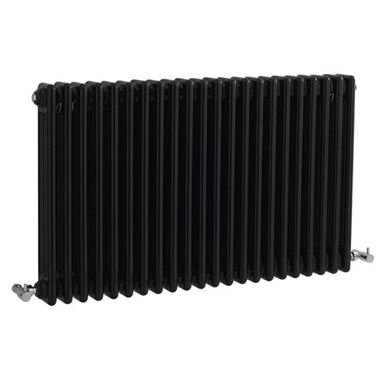Hudson Reed Colosseum Triple Column Horizontal Designer Radiator - Black - 600 x 1011mm