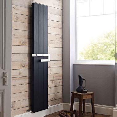 Hudson Reed Ceylon Vertical Designer Radiator - Black - 1800 x 370mm