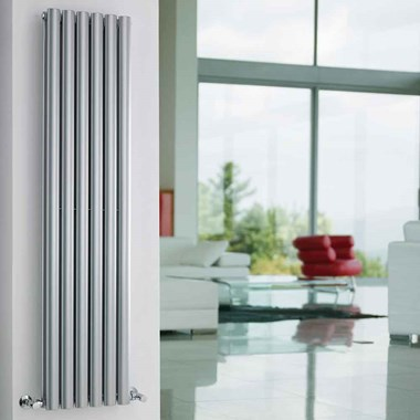 Hudson Reed Revive Double Panel Vertical Designer Radiator - High Gloss Silver