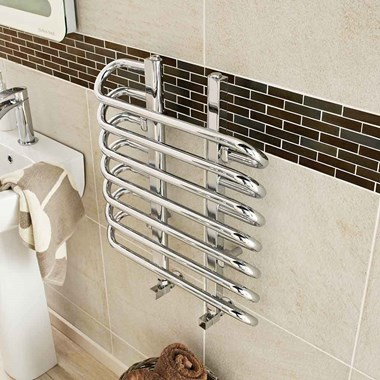 Hudson Reed Finesse Vertical Designer Heated Towel Rail Radiator - Chrome - 610 x 500mm