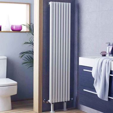 Hudson Reed Kinetic Vertical Designer Radiator - High Gloss Silver - 1800 x 360mm