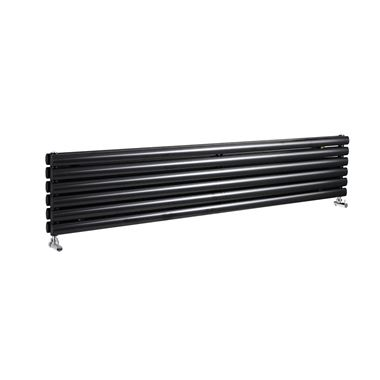 Hudson Reed Revive Double Panel Horizontal Designer Radiator - High Gloss Black