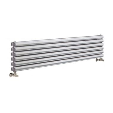 Hudson Reed Revive Double Panel Horizontal Designer Radiator - High Gloss Silver