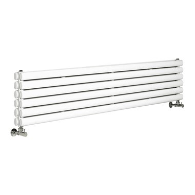 Hudson Reed Revive White Double Panel Horizontal Designer Radiator with Brackets - 1800 x 354mm