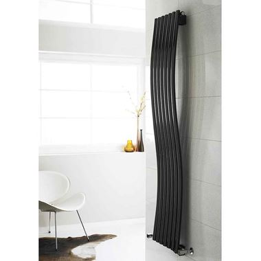 Hudson Reed Revive Wave Single Panel Vertical Designer Radiator - Anthracite - 1785 x 413mm