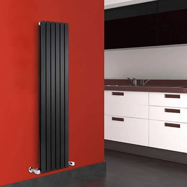 Hudson Reed Sloane Double Panel Vertical Designer Radiator - Anthracite - 1800 x 354mm