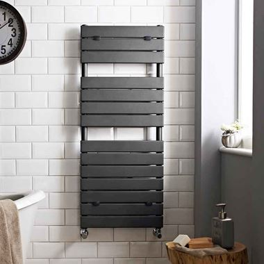 Hudson Reed Flat Panel Vertical Designer Heated Towel Rail Radiator - Anthracite - 1213 x 500mm
