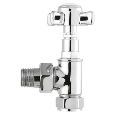 Hudson Reed Victorian Crosshead Angled Radiator Valves - Chrome