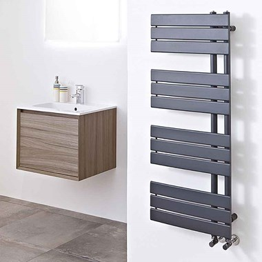 Phoenix Carla Bathroom Electric Designer Heated Towel Rail Radiator - Anthracite - 1200x500mm