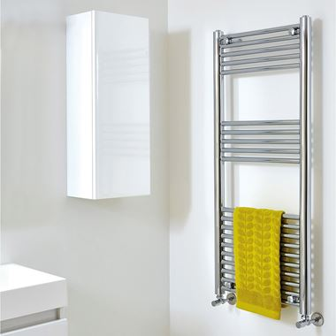 Phoenix Laura Vertical Designer Heated Towel Rail - Chrome - 1200x500mm