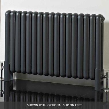 Phoenix Lilly Horizontal Designer Column Style Radiator - Anthracite - 600 x 556mm