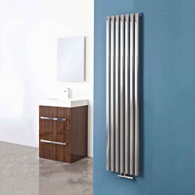 Phoenix Louise Vertical Designer Wall Mounted Chrome Radiator - 1800x420mm