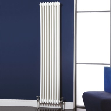 Phoenix Nicole Traditional White 3 Column Style Vertical Wall Mounted Radiator - 1800x287