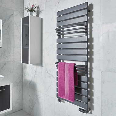 Phoenix Lift Pre Filled Electric Designer Towel Rail - Anthracite - 1290x500mm