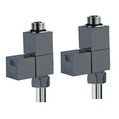 Phoenix Square Straight Radiator Valve Anthracite