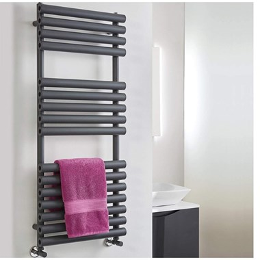 Phoenix Tubo Vertical Designer Electric Towel Rail - Anthracite - 1200x500mm
