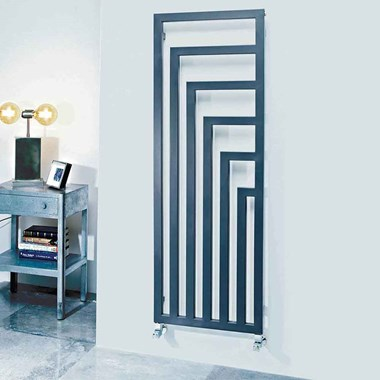 Phoenix Geo Carbon Steel Vertical Designer Wall Mounted Radiator - Anthracite - 1460x520mm