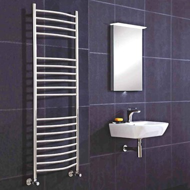 Phoenix Thame Curved Bathroom Heated Towel Rail Radiator - Stainless Steel