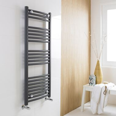 Premier Curved Heated Towel Rail - Anthracite