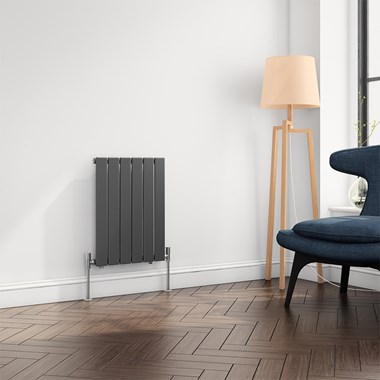 Reina Flat Panel Horizontal Designer Radiator - Single Panel - Anthracite - 600 x 440mm