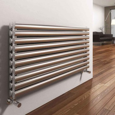Reina Artena Horizontal Panel Designer Radiator - Satin Stainless Steel