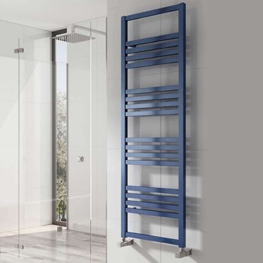 Reina Bolca Blue Satin Aluminium Heated Ladder Towel Radiator