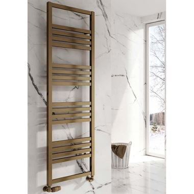 Reina Bolca Bronze Satin Aluminium Heated Ladder Towel Radiator