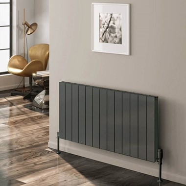 Reina Casina Double Panel Horizontal Designer Radiator - Anthracite - 600 x 1420mm