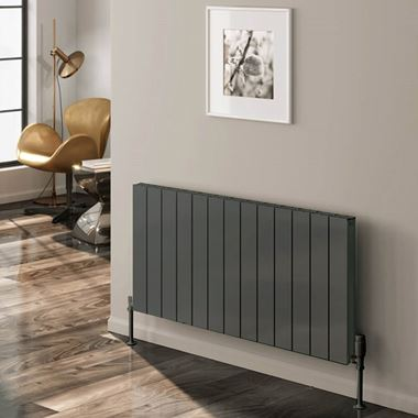 Reina Casina Double Panel Horizontal Designer Radiator - Anthracite - 600 x 850mm