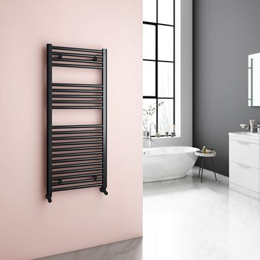 Reina Diva Matt Black Heated Flat Towel Rail