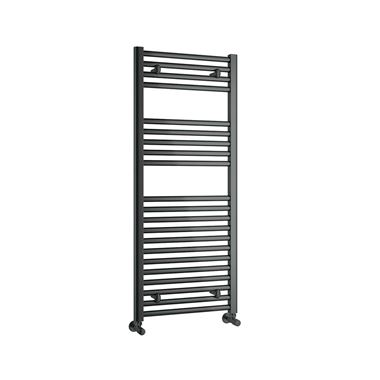 Reina Diva Matt Black Flat Heated Towel Rail - H800 x W600mm
