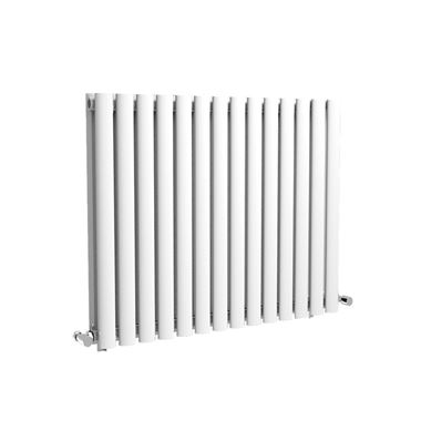 Reina Neva Oval Tube Horizontal Designer Radiator - Double Panel - White - 550 x 826mm