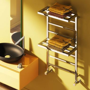 Reina Elvina Designer Bathroom Radiator with Towel Shelf - Polished Chrome