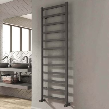 Reina Fano Anthracite Aluminium Heated Ladder Towel Radiator