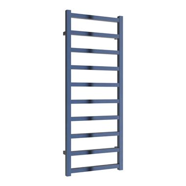 Reina Fano Blue Satin Aluminium Heated Ladder Towel Radiator - 1240 x 485mm