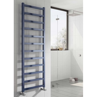 Reina Fano Blue Satin Aluminium Heated Ladder Towel Radiator
