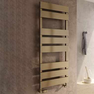 Reina Fermo Bronze Satin Aluminium Heated Ladder Towel Radiator