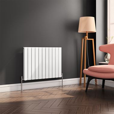 Reina Flat Panel Horizontal Designer Radiator - Double Panel - White - 600 x 810mm