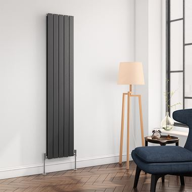 Reina Flat Panel Vertical Designer Radiator - Double Panel - Anthracite - 1800 x 366mm