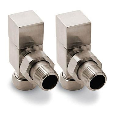 Reina Loge Angled Radiator Valves - Brushed Chrome