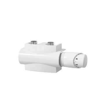 "Reina Modah Twin ""H"" Type Thermostatic Angled Radiator Valve - White"