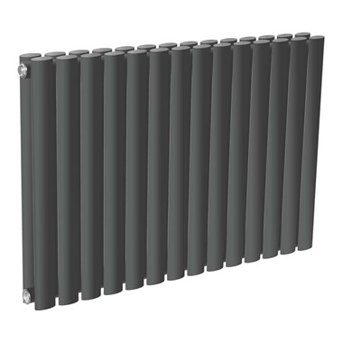 Reina Neva Oval Tube Horizontal Designer Radiator - Double Panel - Anthracite - 550 x 590mm