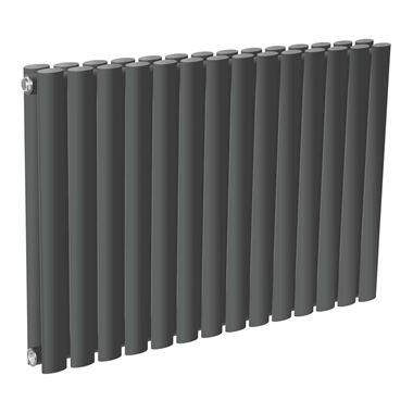 Reina Neva Oval Tube Horizontal Designer Radiator - Double Panel - Anthracite - 550 x 413mm