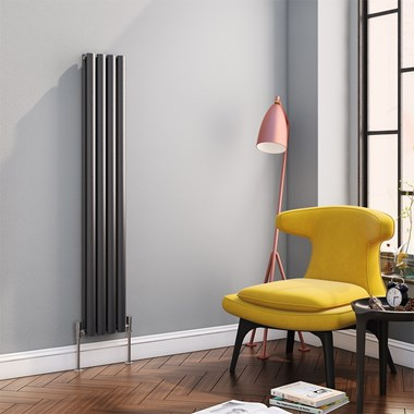 Reina Neva Oval Tube Vertical Designer Radiator - Anthracite