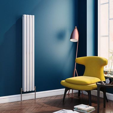 Reina Neva Oval Tube Vertical Designer Radiator - White