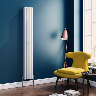 Reina Neva Oval Tube Vertical Designer Radiator - Double Panel - White - 1800 x 236mm