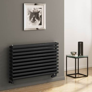 Reina Nevah Horizontal Double Panel Designer Radiator - Anthracite - 590 x 1400mm